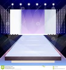 Fashion Runway Poster Empty Illuminated Scene Designer Presentation Vector Illustration Royalty Free