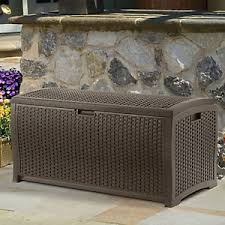 suncast 99 gallon premium resin wicker deck or pool storage box