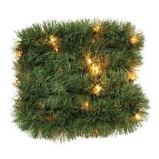 Trim A HomeR Lighted Soft Christmas Garland With Clear Lights 18 Ft