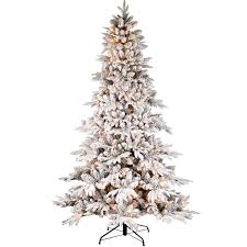 D20 75ft Pre Lit Emmeline Flocked Pine Christmas Tree