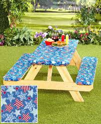 Patio Tablecloth With Umbrella Hole by Amazon Com 3 Pc Picnic Table Covers Americana Stars Patio