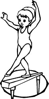 Gymnastics Coloring Pages Girl On Balance Beam