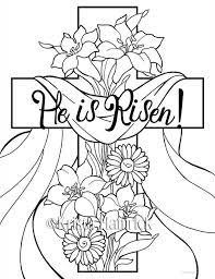 He Is Risen 2 Easter Coloring Pages For Children Door KristaHamrick