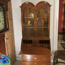 Henredon Breakfront China Cabinet by Chippendale Style Double Dome Secretary
