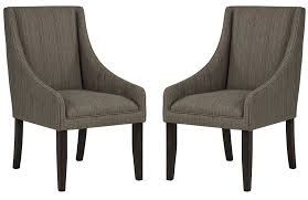 Grey Upholstered Dining Room Chairs With Swoop Arms