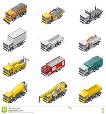 Commercial, Construction, And Service Trucks Isometric Icon Set ...