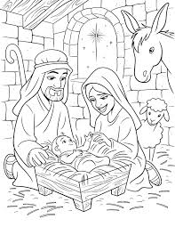 Christmas Story Coloring Pages Printable Lds Nativity Free Kids Scene Full Size