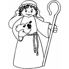 Shepherd Boy With Staff Coloring Page