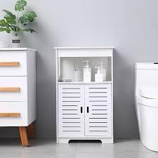 badezimmer schrank pvc doppel tür doppel fach 80 hohe wasserdicht leicht zu reinigen einfache montage 50x30x80 cm weiß