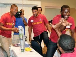 West Indies Players From Left Kieran Powell Ravi Rampaul Darren Sammy And Kieron Pollard Back To Camera Joke Around During Their Elite Team Tour In