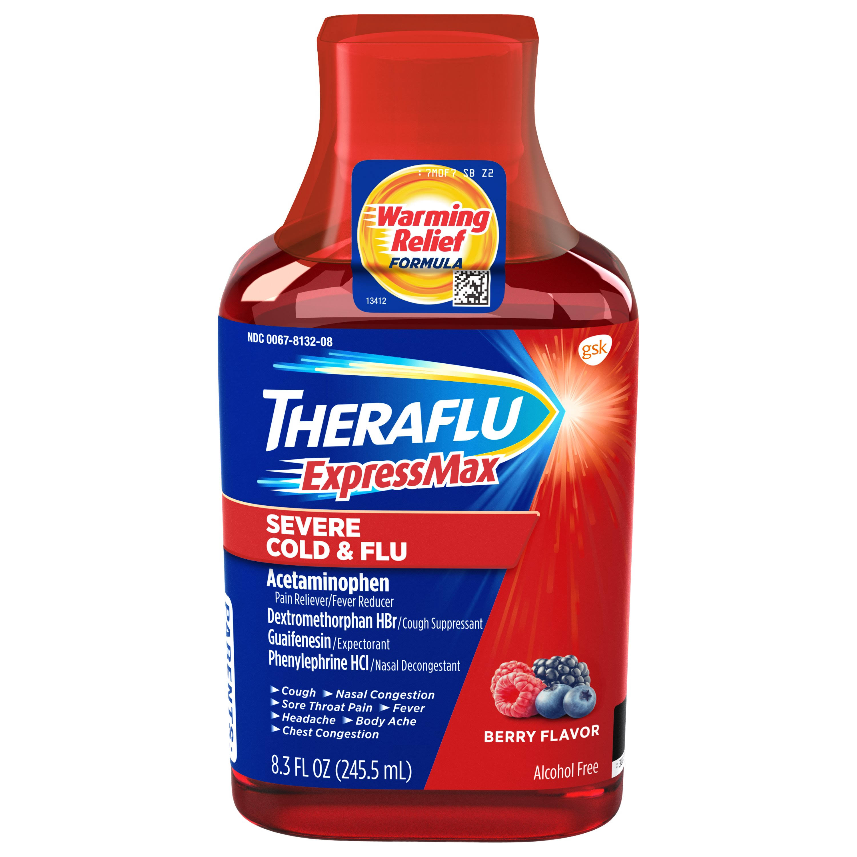 Theraflu Severe Cold and Flu Warming Relief Formula Syrup - Berry, 8.3oz
