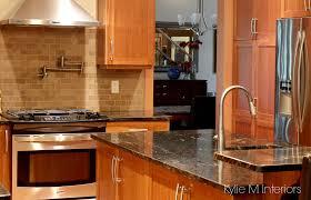 Kitchen Backsplash Ideas Dark Cherry Cabinets by Natural Cherry Cabinets In Kitchen With Black Granite Prep Sink