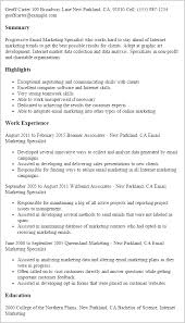 Resume Templates Email Marketing Specialist