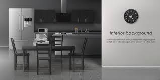 Interior Design Modern Kitchen Background 5 Stock Vektor Free Vector Modern Kitchen Interior Background
