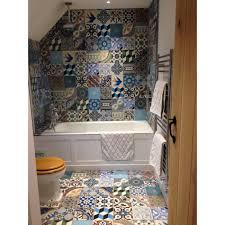 encaustic cement tile random mix colorful