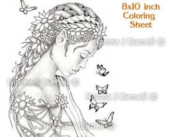 Dreamer Fairy Butterflies Tangles Digital Printable Coloring Sheets Gray Scale Images To Color