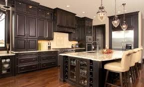 Brown Laminated Wooden Floor Design Ideas Mocha Mozaic Tile Backsplash Dark Kitchen Cabinets Granite Long Custom