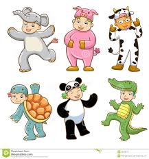 Kid With Animals Costume Stock