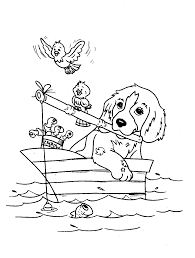 Dog Coloring Pages Fishing With Birds