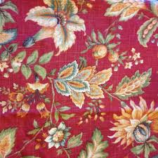 Jacobean Floral Country Curtains by Raymond Waites Floral Granduca Rouge Red Jacobean Fabric Drapes