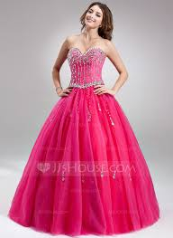 ball gown sweetheart floor length tulle quinceanera dress with