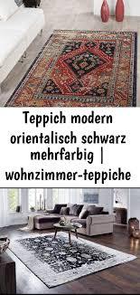 teppich modern orientalisch schwarz mehrfarbig wohnzimmer