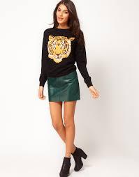leather skirt green dress ala