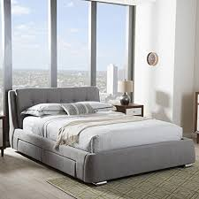 baxton studio camile king storage platform bed in gray a luxury