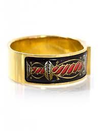 hermes black gold vintage wide loquet enamel clic clac bracelet