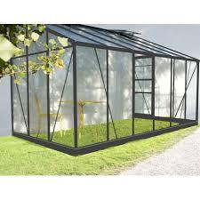 serre de jardin adossée grise verre trempé 7 22m embase