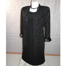 plus size black cocktail dress with jacket evening wear