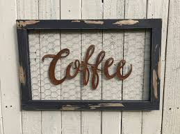 Chicken Wire Sign Coffee Bar Metal Farmhouse Decor Signs Fixer Upper Style Rustic Home Kitchen
