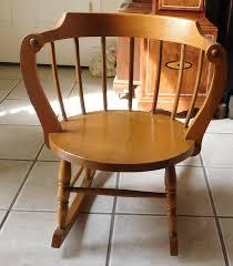Vintage Antique Child's Child Oak Windsor Wooden Rocking Chair