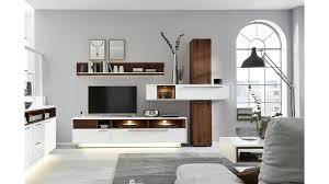 interliving wohnzimmer serie 2102 wohnkombination 510801s mit beleuchtung dunkles asteiche furnier weißer mattlack