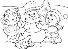 Printable Preschool Coloring Pages Winter Season Snowman With Kids For Free Print