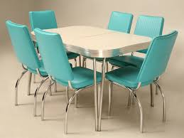Take A Leap Back In Time With This Chrome Brushed Aluminium Vinyl And Formica Retro Dinette Set The Whole Is Very Good Original Condition