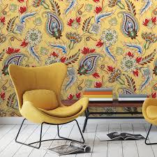 groß gemusterte gelbe designer tapete classic paisley mit dekorativem blatt muster angepasst an schöner wohnen wandfarben