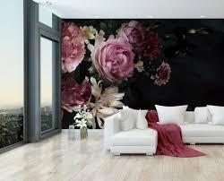 fototapete blumen blüten rosa fototapeten tapete wandbild pflanzen schwarz m5867