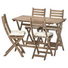 Table+4 Folding Chairs, Outdoor ASKHOLMEN Grey-brown Stained, Kuddarna Beige