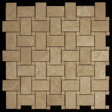 crema marfil marble basketweave mosaic tile with crema marfil dots