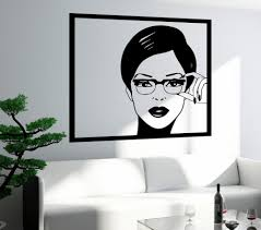 100 Pop Art Bedroom US 498 25 OFFSexy Girl Woman Teen Wall Stickers In Glasses Wall Decal Design Self Adhesive Wallpaper Removable Mural SA256in Wall