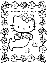 Print Hello Kitty Cute Mermaid Coloring Pages Or Download