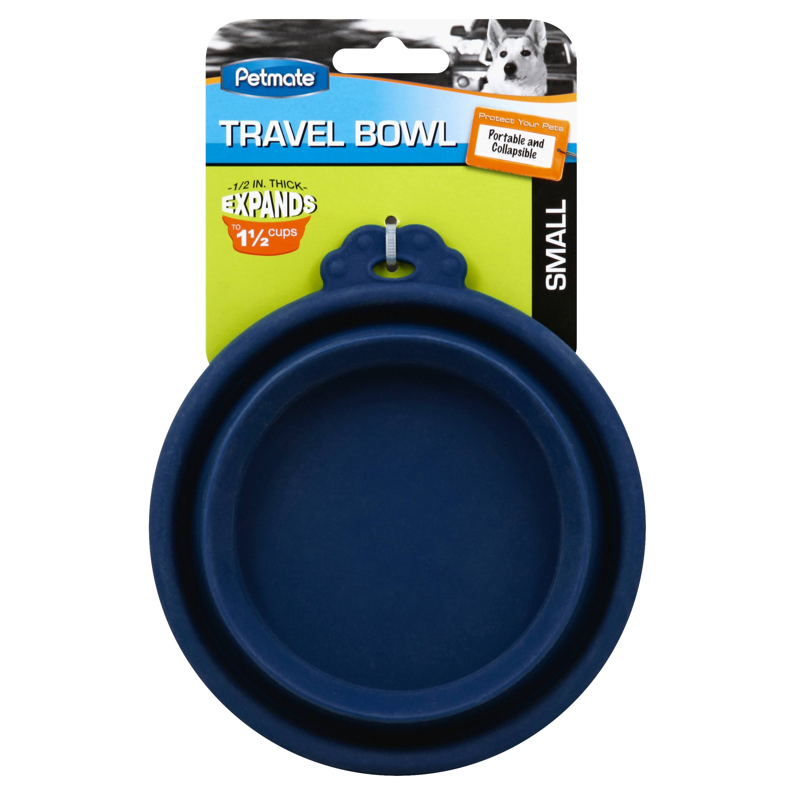 Petmate Travel Bowl - Navy Blue, Silicone, Round