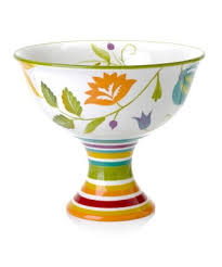 Clay Art Floral Stripe Striped Footed Bowl By