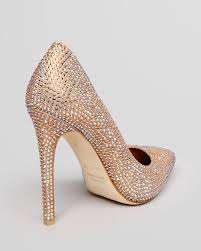 le silla pointed toe pumps crystal studded high heel in natural lyst