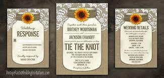 Country Burlap Lace Mason Jar Sunflower Wedding Invitations Set