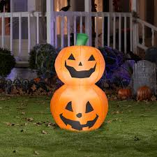 Halloween Airblown Inflatables by 3 5 U0027 Tall Pumpkin Duo Stack Halloween Airblown Inflatable