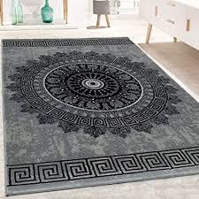 paco home designer teppich wohnzimmer mandala muster kurzflor barock stil in grau schwarz grösse 80x150 cm