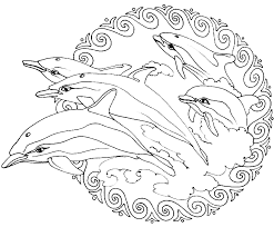 Dolphins In A Mandala Coloring Page To Print And Color
