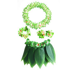 Hawaiian Luau Hula Grass Skirt With Large Flower Costume Set For Dance Performance Party Decorations Favors Supplies